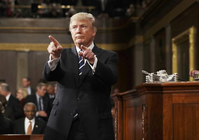 U.S. President Donald Trump reacts after delivering his first address to a joint session of Congress from the floor of the House of Representatives iin Washington, U.S., February 28, 2017