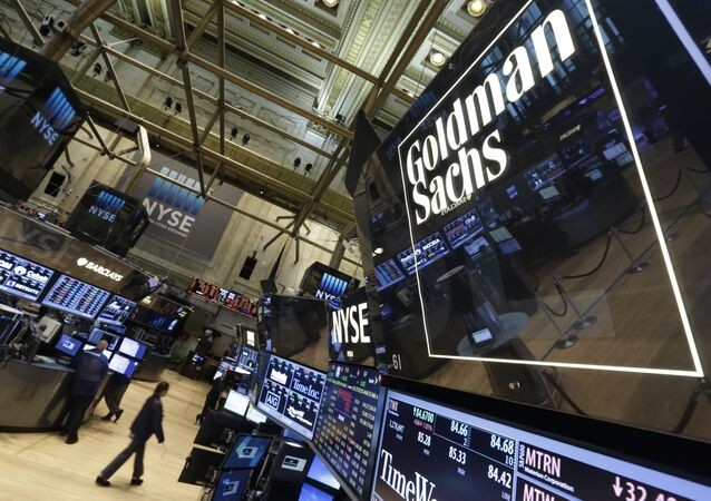 Goldman Sachs trading post on the floor of the New York Stock Exchange (File)