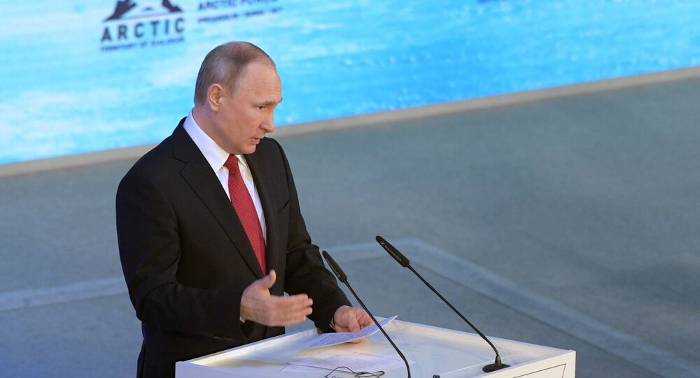 Russian President Vladimir Putin speaks at The Arctic: Territory of Dialogue forum in Arkhangelsk