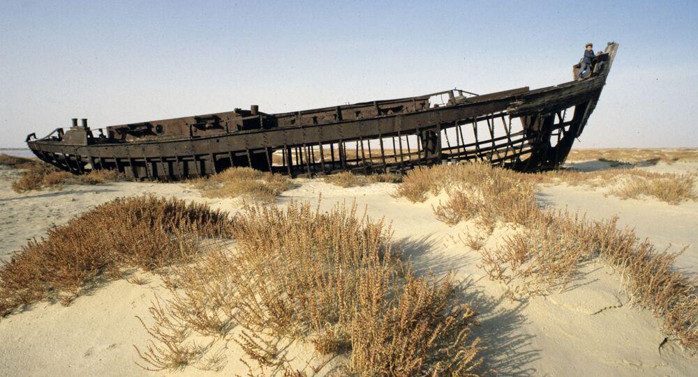 Una nave sul fondale asciutto del lago d'Aral