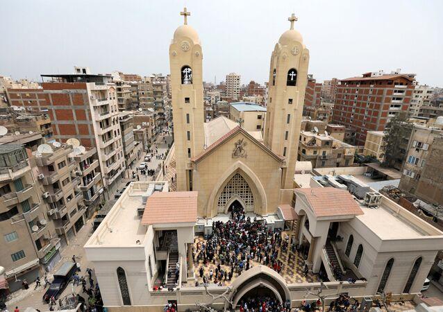 La chiesa colpita dall'attentato.