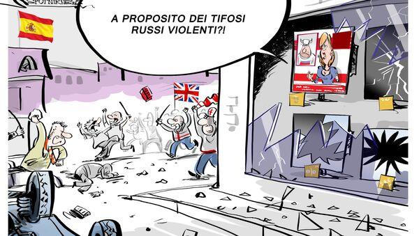 Gli scontri tra polizia e tifosi inglesi nel centro di Madrid - Sputnik Italia