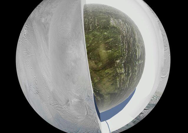 Modello che raffigura la struttura di Encelado, satellite di Saturno