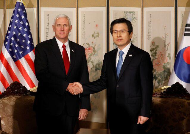 Vicepresidente USA Mike Pence e premier e presidente ad interim sudcoreano Hwang Kyo-ahn