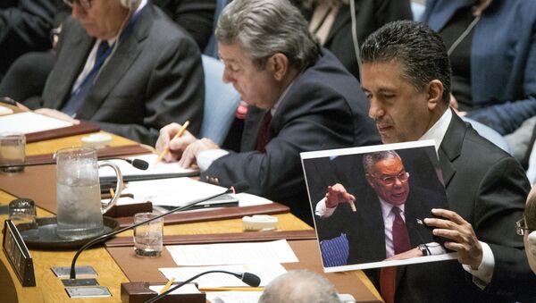 L'ambasciatore della Bolivia Sacha Sergio Llorenti Soliz ha mostrato all'assemblea generale dell'ONU una foto di Colin Powell quando ragliava sulle armi chimiche di Saddam Hussain. - Sputnik Italia