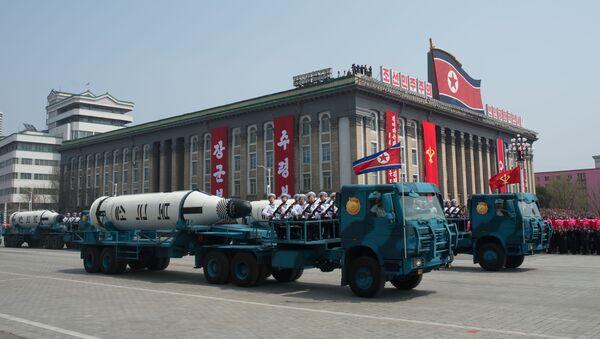 Il missile balistico Pukkuksong-1 alla parata militare a Pyongyang, Corea del Nord. - Sputnik Italia
