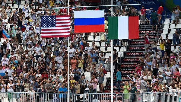 Le bandiere di Italia, Russia e USA - Sputnik Italia