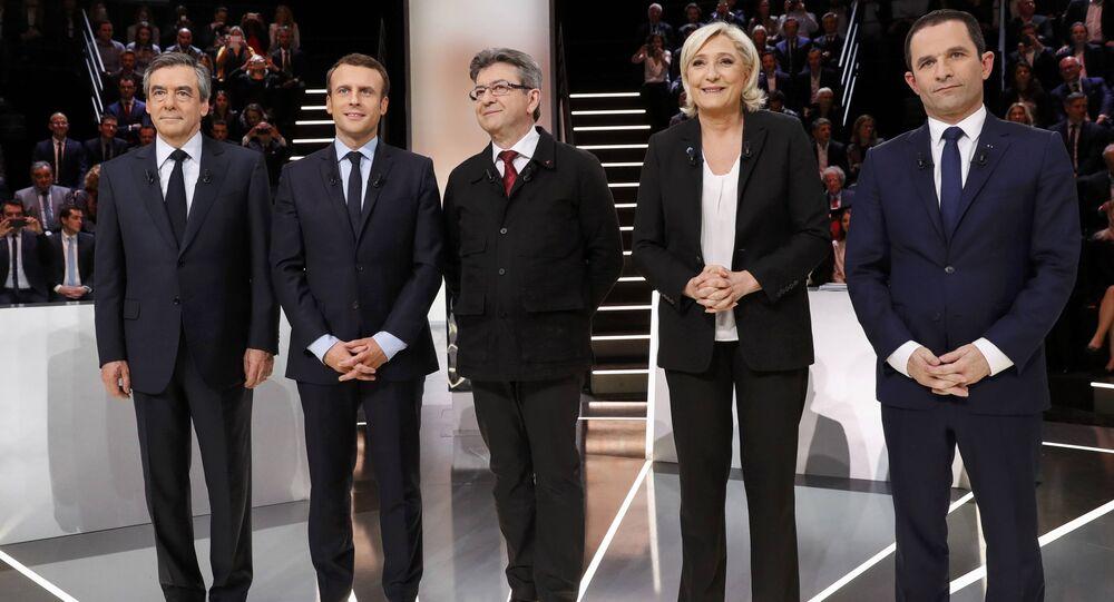 Marine Le Pen, Jean-Luc Mélenchon, Benoît Hamon, Emmanuel Macron et François Fillon