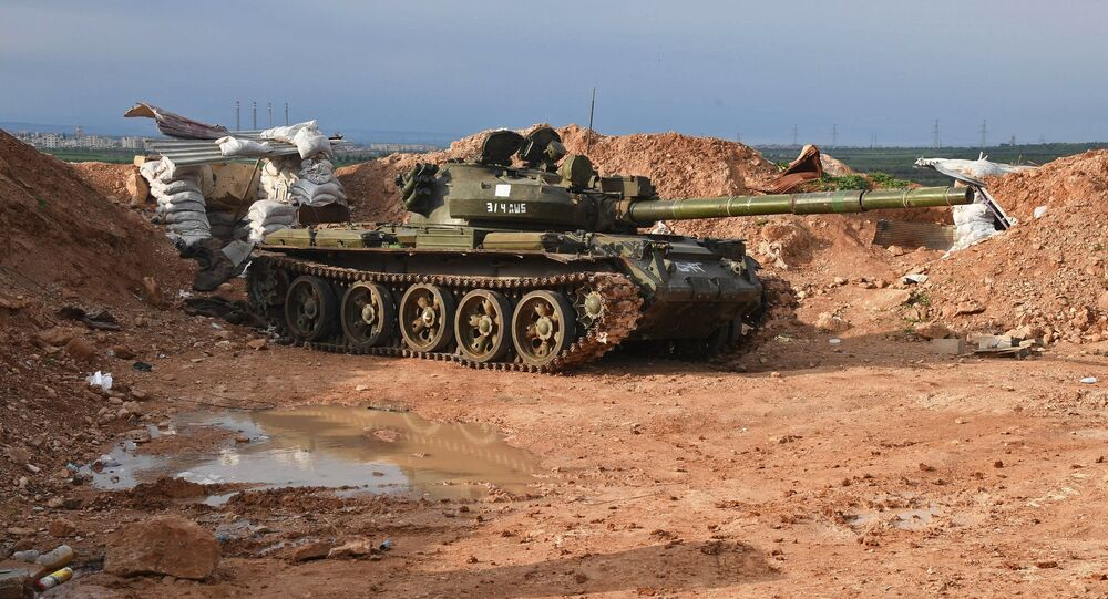 A tank at the Syrian Army's position to the north of Hama