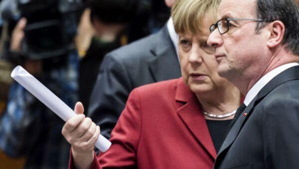 Angela Merkel e Francois Hollande al vertice dell'UE a Bruxelles - Sputnik Italia