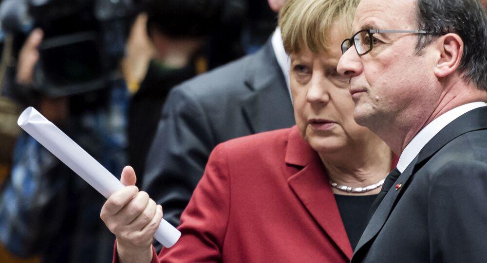 Angela Merkel e Francois Hollande al vertice dell'UE a Bruxelles