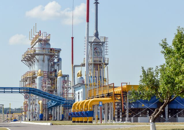 A picture shows a compressor station of Ukraine's Naftogaz national oil and gas company near the northeastern Ukrainian city of Kharkiv on August 5, 2014.