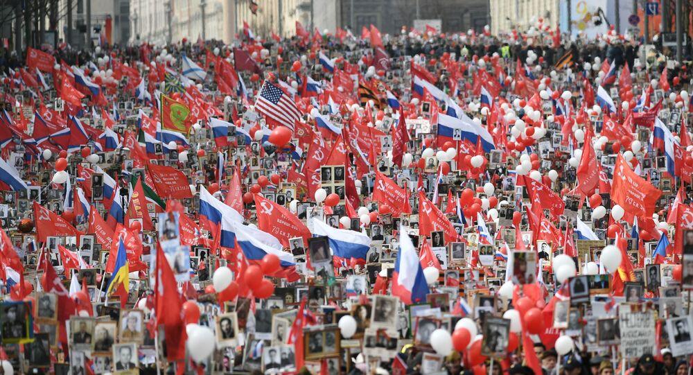 Manifestazione del Reggimento Immortale a Mosca in ricordo della vittoria sulla Germania nazista