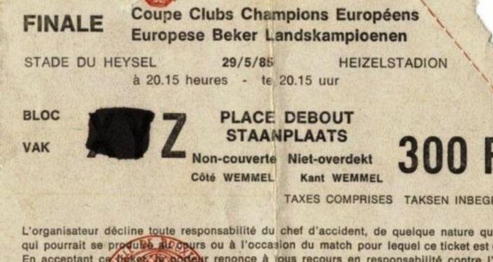 Biglietto della Finale di Coppa Campioni allo stadio Heysel di Bruxelles