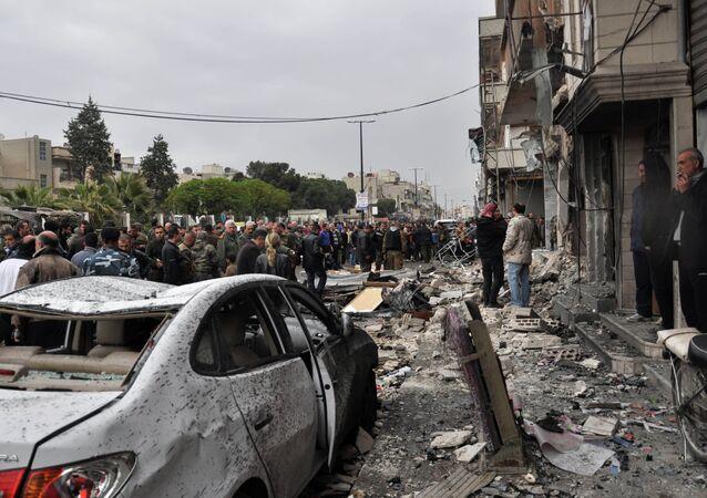 Dopo esplosione di un'autobomba ad Homs. Foto d'archivio