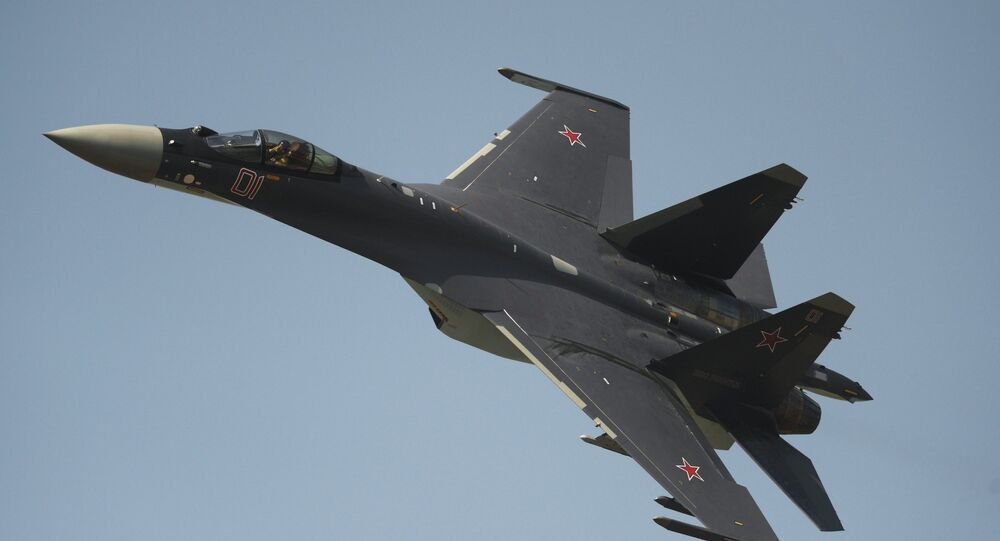 The Su-35 fighter performing on Air Force Day in Lipetsk