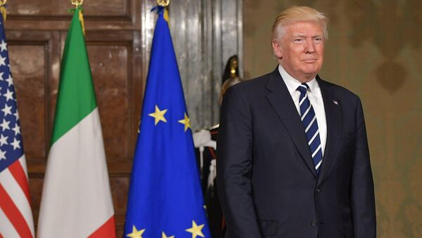 US President Donald Trump arrives for a meeting with Italy's President Sergio Mattarella at the Quirinale Presidential Palace in Rome - Sputnik Italia
