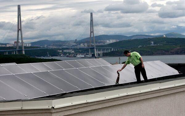 Il campus dell'università FEFU è alimentato interamente con pannelli fotovoltaici - Sputnik Italia