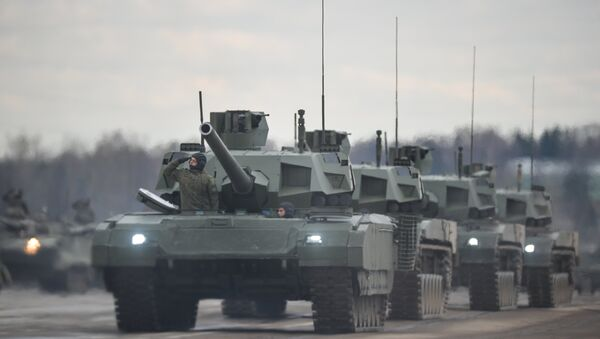 Tanks Armata of the mechanized columns of the Central Military District's Moscow Garrison during the rehearsal of the military parade to mark the 71st Anniversary of the Victory in the Great Patriotic War, at the Alabino training ground, Moscow Region. - Sputnik Italia