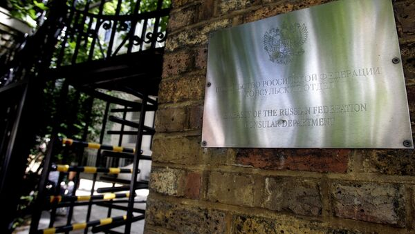 A sign on the wall at the entrance to the Russian Embassy in London. (File) - Sputnik Italia