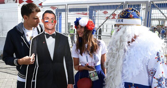 Cristiano Ronaldo allo stadio Spartak di Mosca, ma è un poster