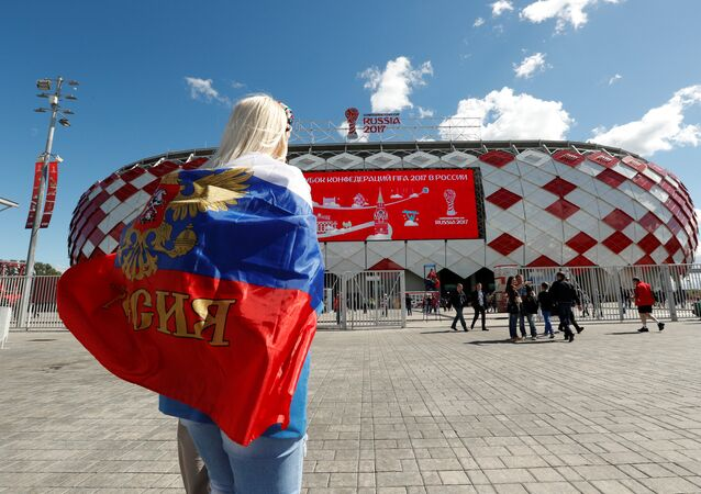 Soccer Football - Russia v Portugal - FIFA Confederations Cup Russia 2017 - Group A - Spartak Stadium, Moscow, Russia - June 21, 2017 Russia fan arrives before the match