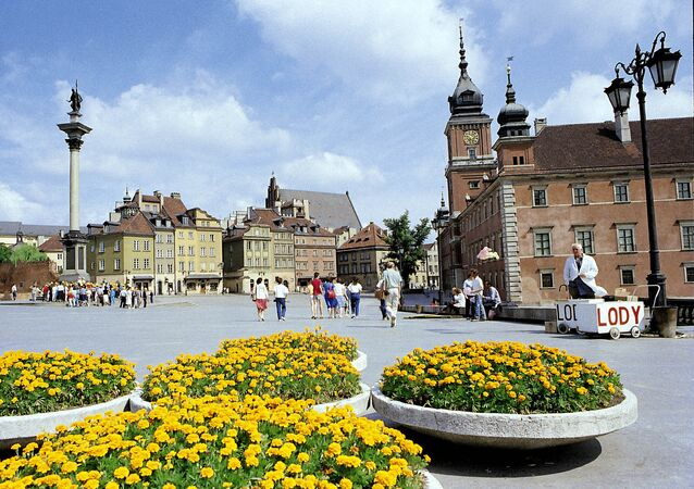 Veduta del centro storico di Varsavia, 1988