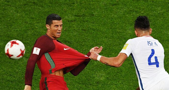 Cristiano Ronaldo durante la partita contro il Cile alla Confederations Club