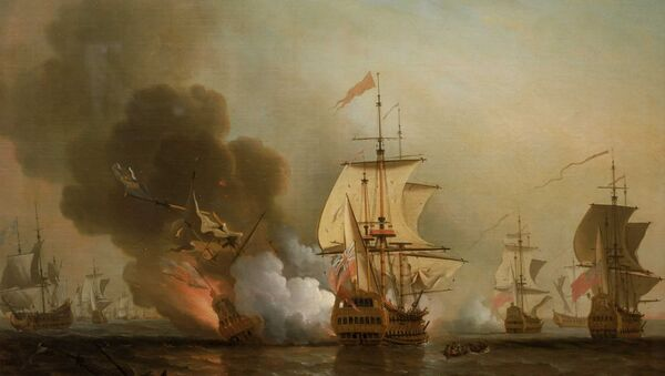 Explosion of San José during Wager's Action. Oil on canvas by Samuel Scott - Sputnik Italia