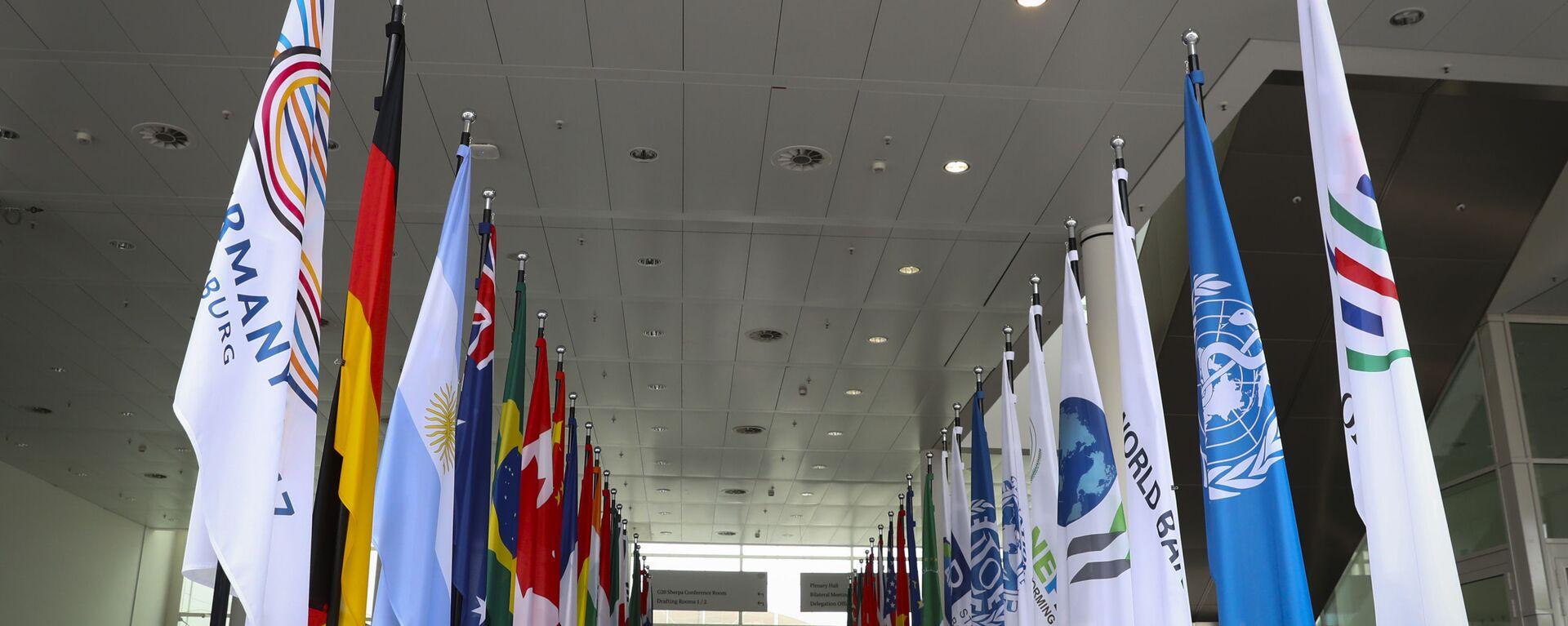 Le bandiere dei paesi che prendono parte al vertice G20 ad Amburgo. - Sputnik Italia, 1920, 06.04.2021