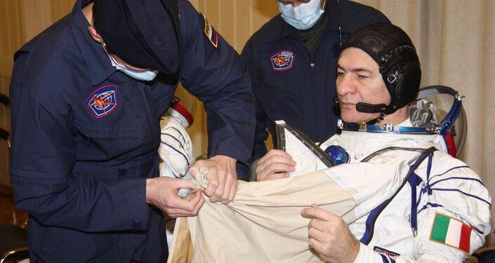 Nespoli durante l'addestramento a Baikonur