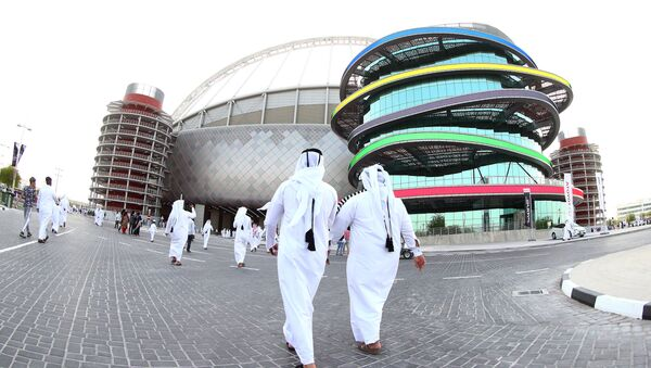 A picture taken with a fisheye lens on May 19, 2017, shows a general view of the Khalifa International Stadium in Doha, after it was refurbished ahead of the Qatar 2022 FIFA World Cup, as fans arrive to attend the Qatar Emir Cup Final football match between Al-Sadd and Al-Rayyan - Sputnik Italia