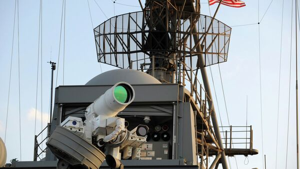 The laser weapon system (LaWS) is tested aboard the USS Ponce amphibious transport dock during an operational demonstration while deployed in the Gulf - Sputnik Italia