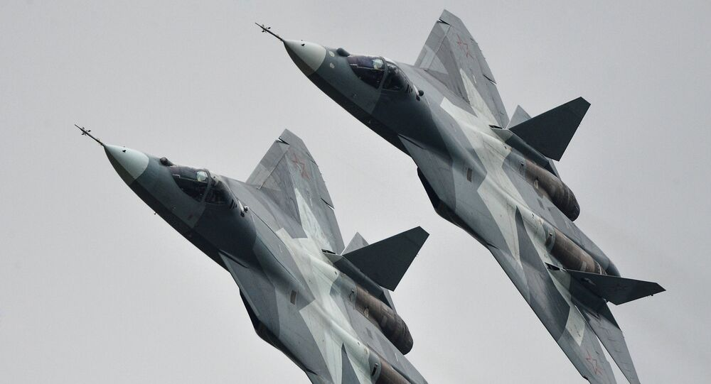 T-50 strike aircraft at the MAKS-2013 Aviation and Space Salon in Zhukovsky