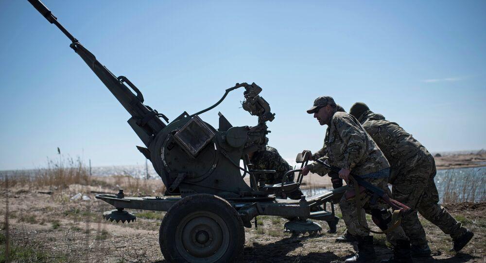 Artiglieria esercito ucraino nel Donbass