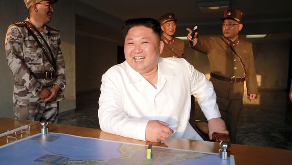 North Korean leader Kim Jong Un reacts during a ballistic rocket test-fire through a precision control guidance system in this undated photo released by North Korea's Korean Central News Agency (KCNA) May 30, 2017 - Sputnik Italia