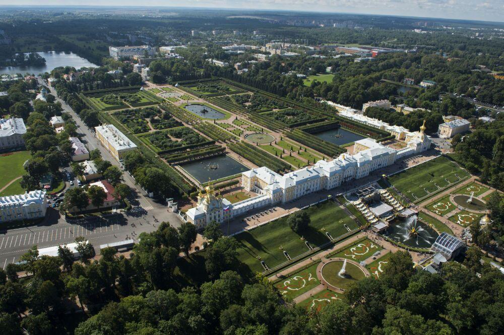 La vista di Peterhof a San Pietroburgo