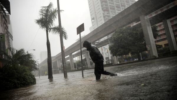 A local resident walks across a flooded street in downtown Miami as Hurricane Irma arrives at south Florida, U.S. September 10, 2017 - Sputnik Italia