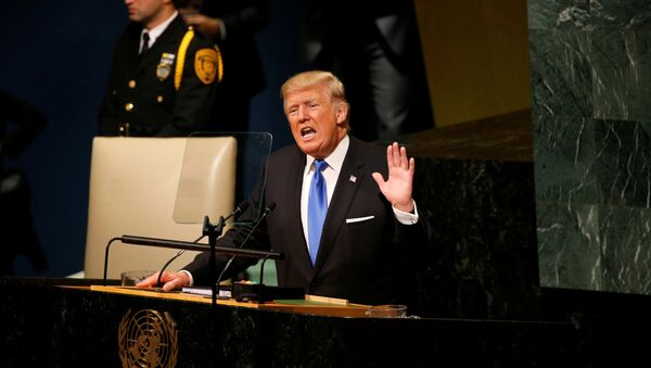 U.S. President Donald Trump delivers his address to the United Nations General Assembly in New York, U.S., September 19, 2017 - Sputnik Italia