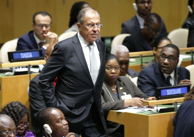 Ministro degli Esteri russo Sergey Lavrov all'Assemblea Generale dell'ONU