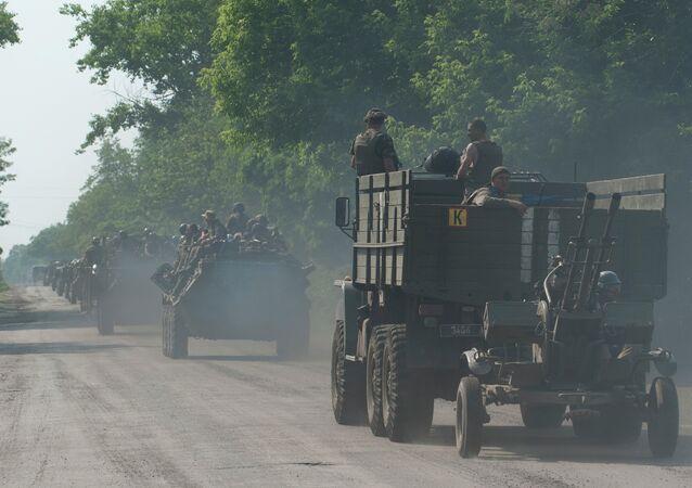 Convoglio militare ucraino nel Donbass