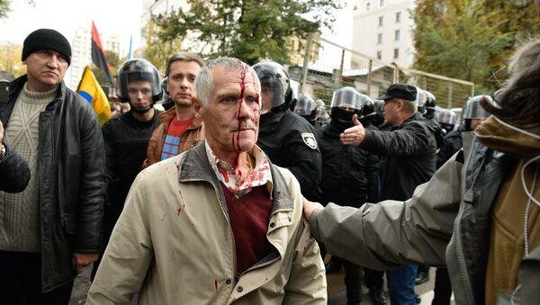 Kiev, un manifestante ferito il 17 ottobre - Sputnik Italia