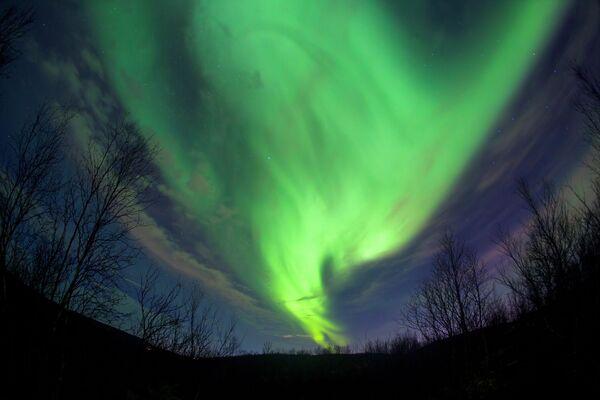 L'aurora boreale nei pressi della città russa di Murmansk. - Sputnik Italia