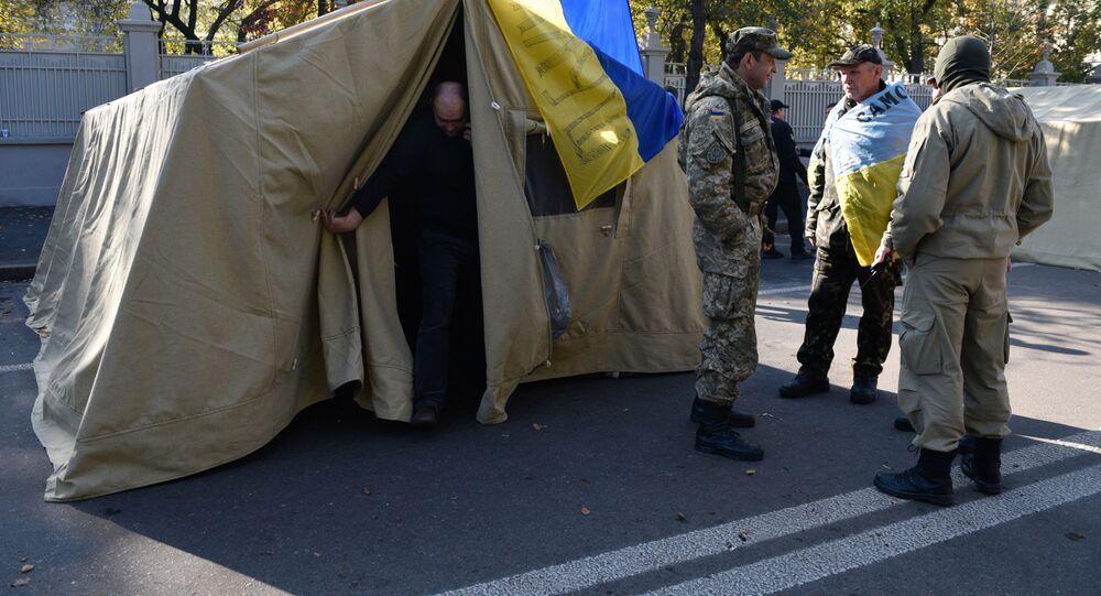 Tenda davanti il Parlamento a Kiev