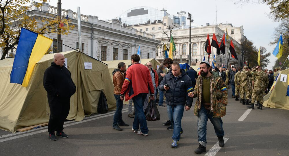 A tent camp set up near the Ukrainian parliament building in Kiev, Ukraine October 19, 2017