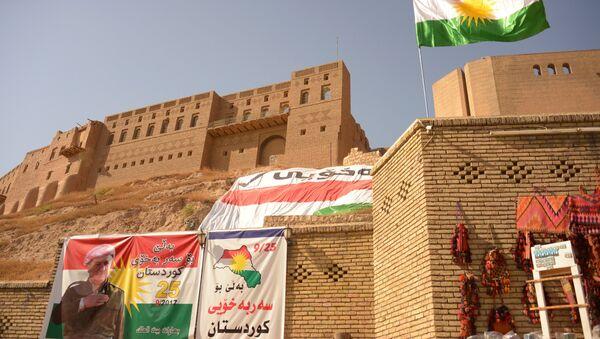 Cartelli che invitano a votare al referendum sull'indipendenza del Kurdistan iracheno ad Erbil. - Sputnik Italia