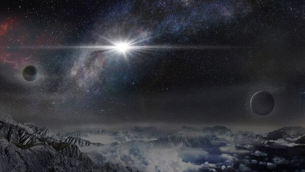 This image provided by The Kavli Foundation on Thursday, Jan. 14, 2016 shows an artist's impression of the superluminous supernova ASASSN-15lh as it would appear from an exoplanet located about 10,000 light-years away in the host galaxy of the supernova - Sputnik Italia