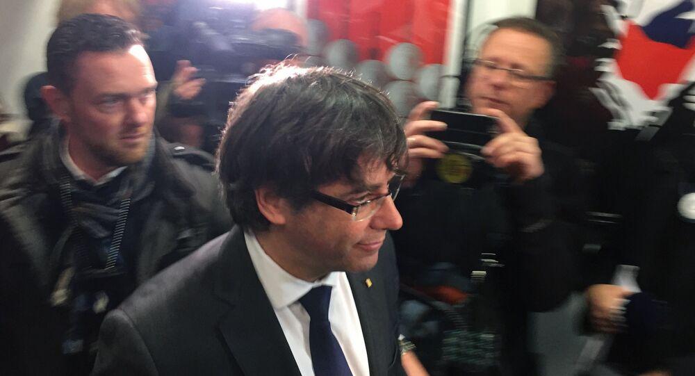 Carles Puigdemont al Parlamento di Catalogna in Barcellona.
