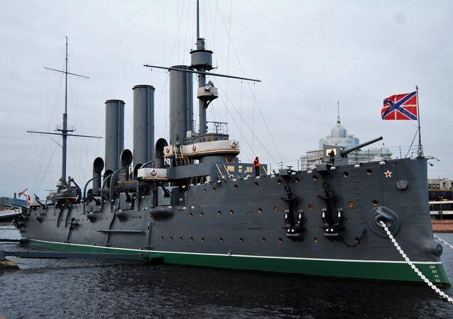 L'incrociatore Aurora, uno dei simboli della Rivoluzione russa