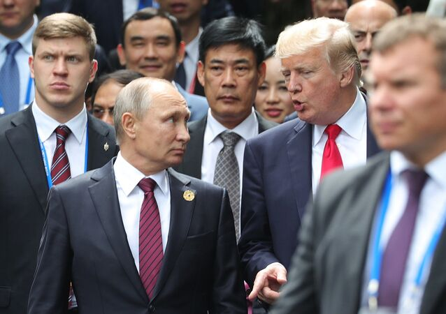 Russian President Vladimir Putin and US President Donald Trump are seen here ahead of the first working meeting of the Asia-Pacific Economic Cooperation leaders